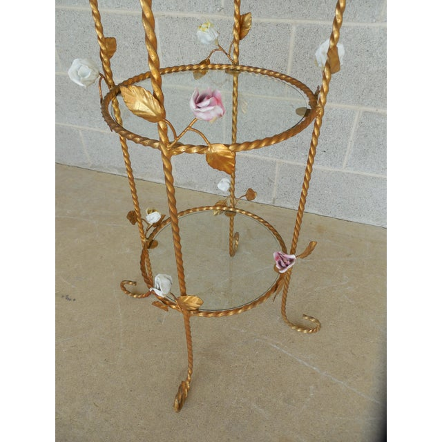 Vintage Italian Gilt Hand Painted Rose Petal Accented Etagere For Sale - Image 4 of 8