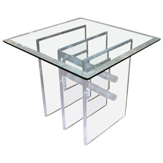 Mid-Century Lucite Occasional Table with Modern Lucite Base For Sale