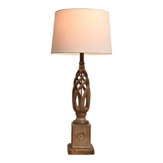Mid Century Classicism Wood & Gilt Table Lamp For Sale