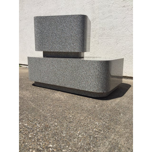 1980s AbstractGranite Laminate Modular Pedestal Table Set - 2 Pieces For Sale - Image 11 of 11