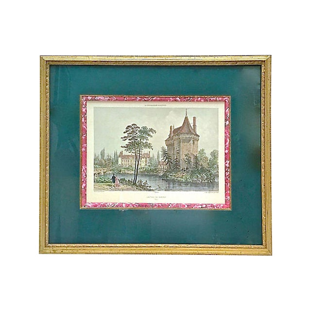 19th Century Antique Normandy Chateau Engraving For Sale