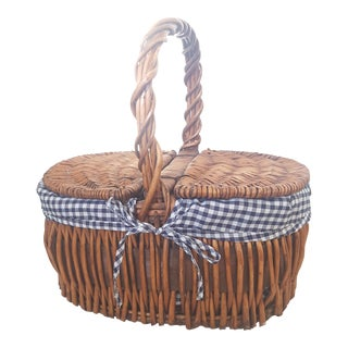 Large Blue and White Checked Picnic Basket For Sale