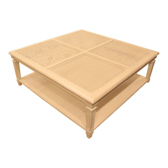 20th Century Hollywood Regency Square Cane Top Coffee Table For Sale