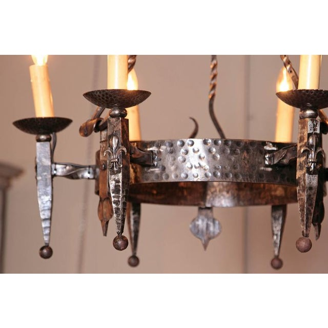 Early 20th Century French Wrought Iron Six-Light Chandelier With Fleur-De-Lys For Sale - Image 10 of 10
