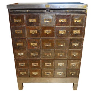 Industrial Storage Cabinet of Steel With 30 Steel File Drawers With Brass Pulls For Sale