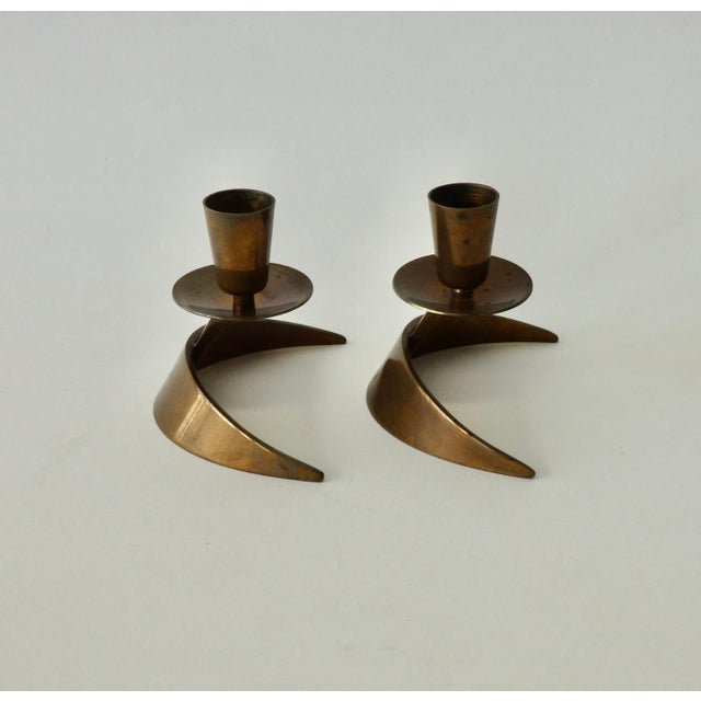 Pair of John Prip Ronald Pearson bronze candle sticks. Stamped MA Co. bronze Rochester N.Y. completely original finish.