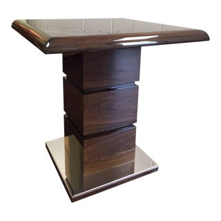 Modern Rosewood and Chrome Side Table For Sale