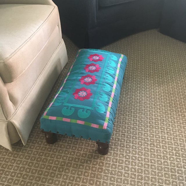 Turquoise 1980s Boho Chic Embroidered Turquoise Footstool For Sale - Image 8 of 9