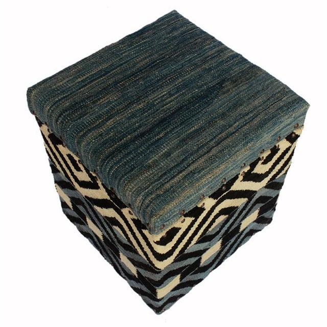 Delora Black/Ivory Kilim Upholstered Handmade Storage Ottoman For Sale - Image 4 of 8