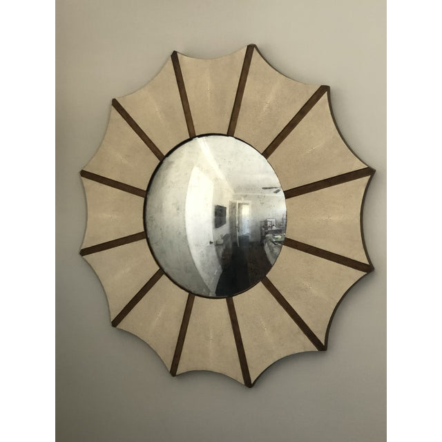 Made Goods Daniela Sunburst Convex Mirror in Vintage Faux Shagreen For Sale In Los Angeles - Image 6 of 6