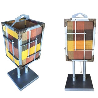 Aluminum Cubist Table Lamp With Original Shade, Pair For Sale