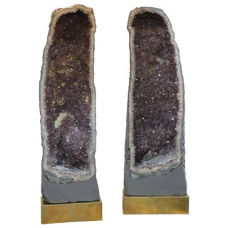Monumental Pair of Amethyst Geode Lamps For Sale