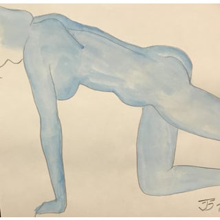 1970s Vintage Blue Female Nude Painting by James Bone For Sale