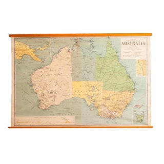 Vintage Australia Pull Down Map For Sale