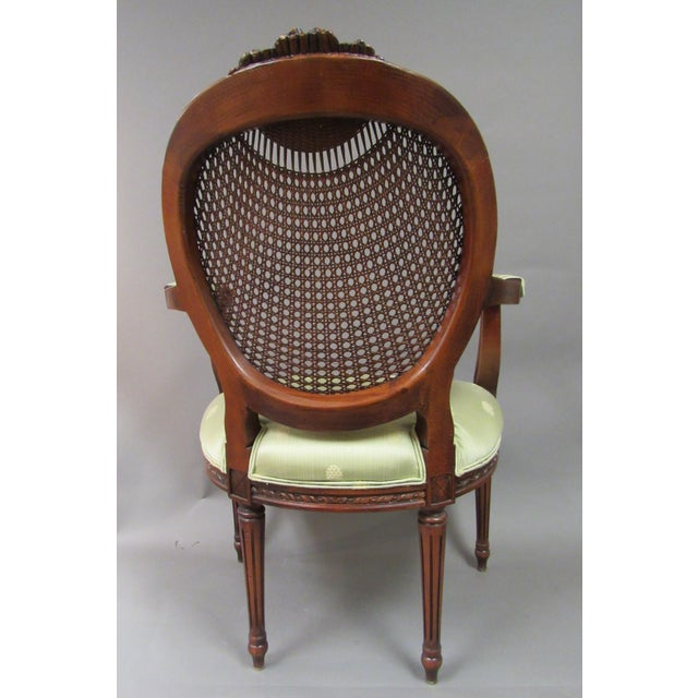 Fairfield Vintage Fairfield Louis XVI Style French Upholstered Cane Back Bergere Chair For Sale - Image 4 of 11