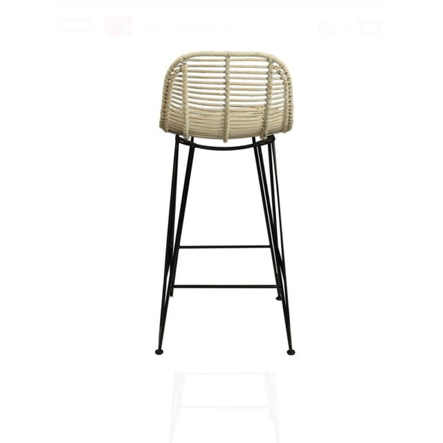 Rattan & Iron Barstools - A Pair - Image 3 of 6
