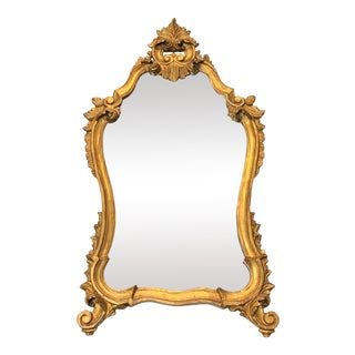 18th Century Antique Italian Baroque Wood Gilt Mirror For Sale
