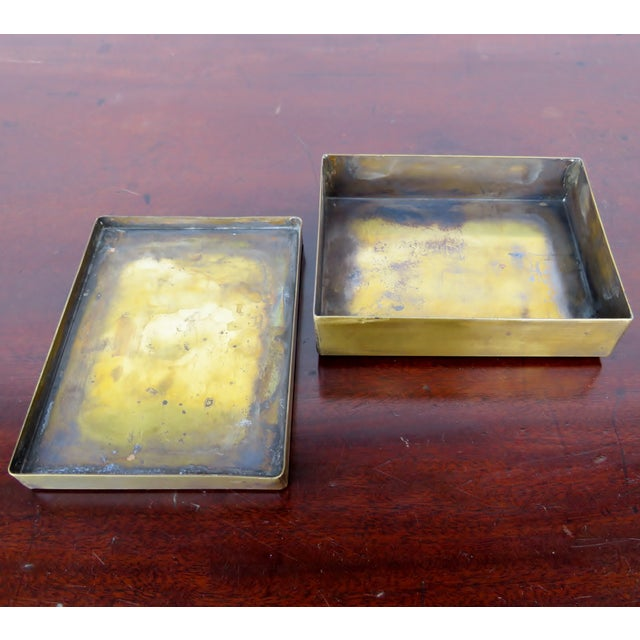 Early 20th Century Vintage Brass & Mosaic Stone Box For Sale - Image 5 of 6