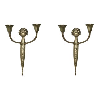 Pair of French Gilt Bronze Two-Light Wall Sconces by Sue Et Mar For Sale
