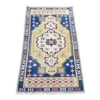 1960s Vintage Turkish Oushak Handmade Rug -1′9″ × 3′8″ For Sale