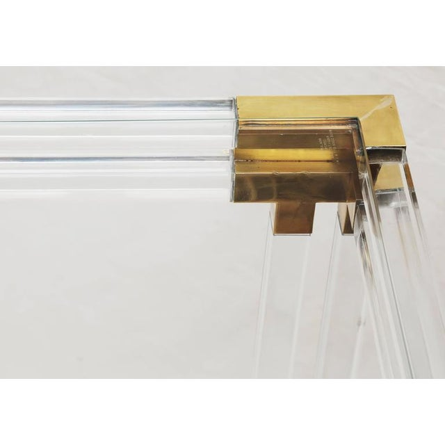 Charles Hollis Jones Style Lucite and Brass Console - Image 6 of 7