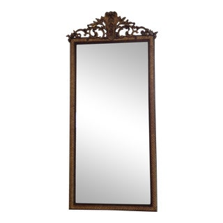 1880 Napolean III Gilt Wood Mirror; cartouche carving, twisted rope frame For Sale