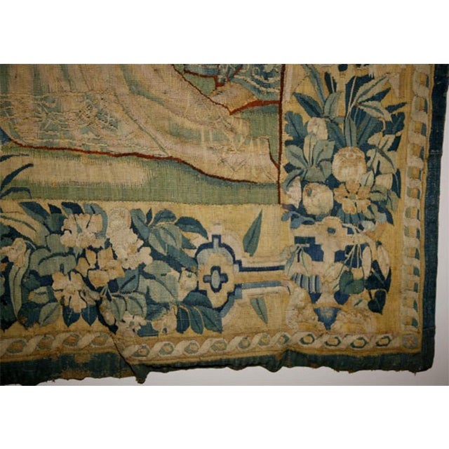 Blue 17th Century Flemish Tapestry of Soldiers and Ladies Outside of a Walled City For Sale - Image 8 of 8