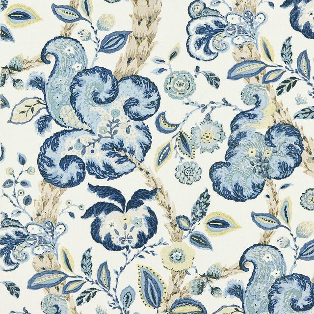 Transitional Scalamandre Cumbria Hand Block Print Fabic, China Blue Sample For Sale - Image 3 of 3