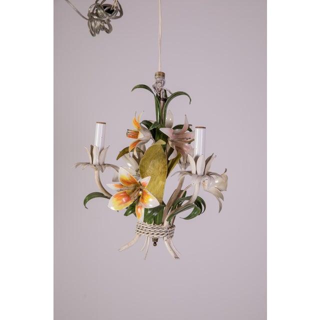 Hollywood Regency Madcap Cottage Tole Lily 3-Light Chandelier For Sale - Image 3 of 12