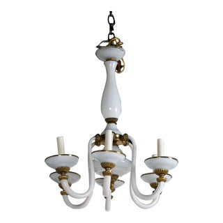 1930s French Opaline Eight Light Chandelier For Sale