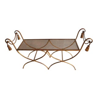 Mid-Century Italian Gold Leaf Wrought Iron Bench