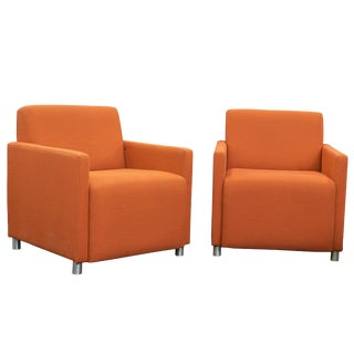 Steelcase Coupe Orange Upholstered Club Lounge Chairs - Pair For Sale