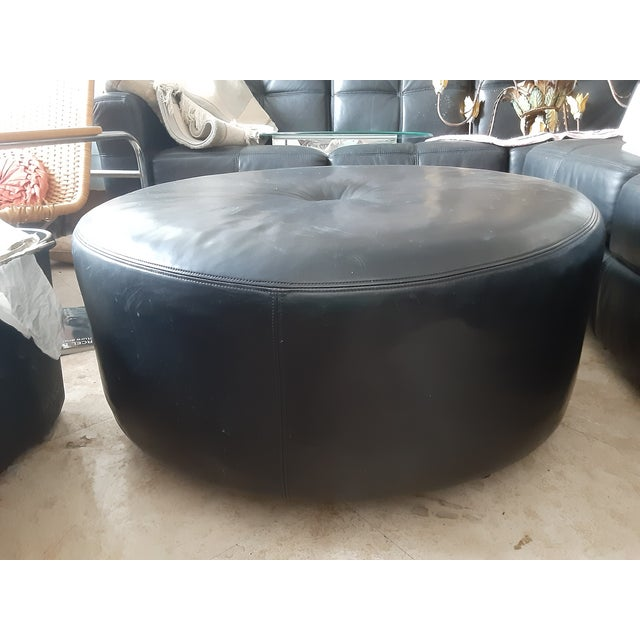 2000 - 2009 Final.Markdown Black Triple Box Stitch Leather Ralph Lauren Style Round Bench/Coffee Table For Sale - Image 5 of 11
