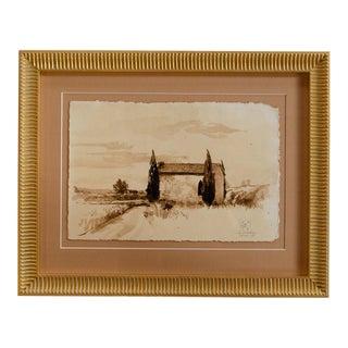 "Benjamin F. Long IV Tuscan ""La Fratta"" Pen & Ink Drawing For Sale"