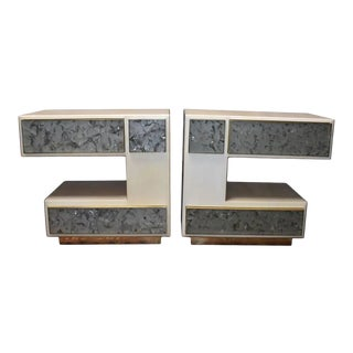 Pair of Artistic Parchment and Cracked Resin Side Tables or Nightstands For Sale