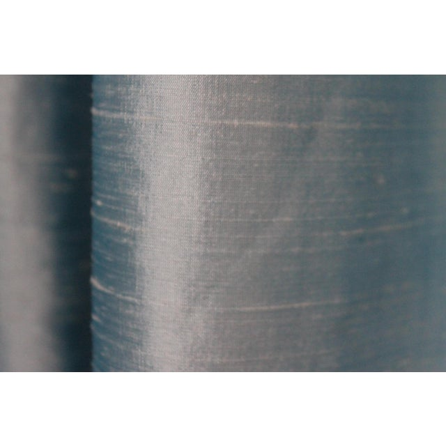 Beacon Hill/Robert Allen Chambray Blue 100% Silk Drapes - 8 Panels For Sale In New Orleans - Image 6 of 8