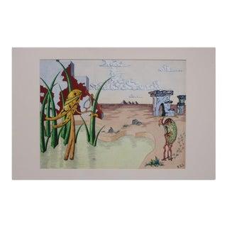 Surrealist Landscape Watercolor Signed R. E. Schwelke and Dated 1947 For Sale