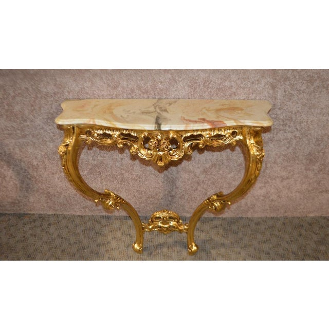Carved French Style Marble Top Console Table - Image 2 of 11