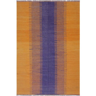 Modern Bauhaus Argentin Orange/Blue Hand-Woven Kilim Wool Rug - 5'9 X 8'0 For Sale