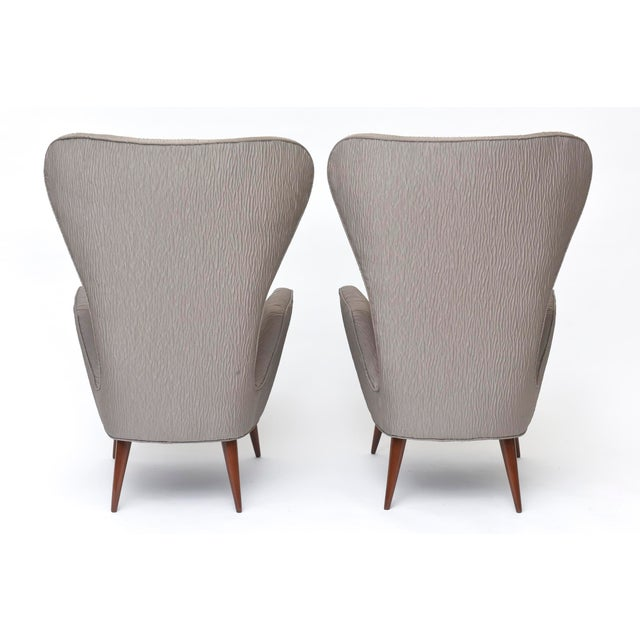 Pair of Italian Modern High Back Chairs, Italy For Sale - Image 11 of 11