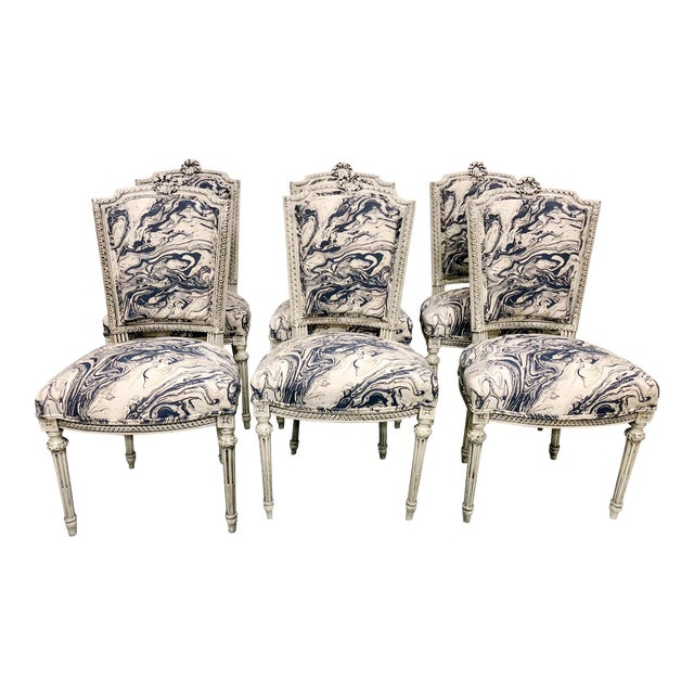 Set of 6 Antique French Dining Chairs For Sale