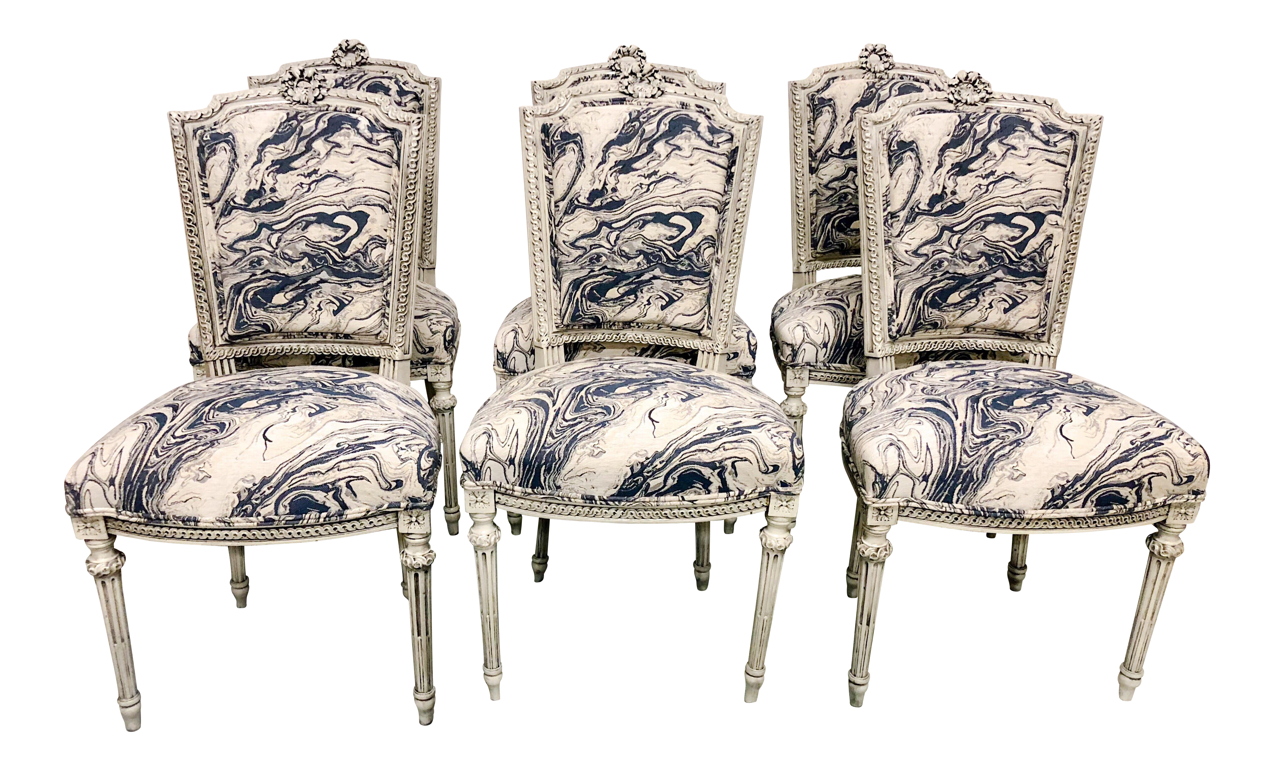 Beau Set Of 6 Antique French Dining Chairs