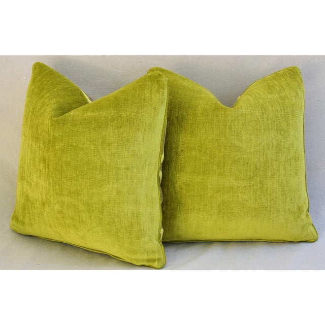 Hollywood Glam Lime Opuzen Cut Velvet Pillows - a Pair - Image 11 of 11