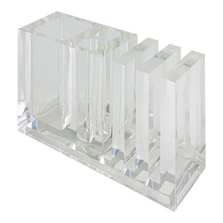 Italian Postmodern Lucite Pen or Pencil Desk Holder by Designer Rede Guzzini For Sale