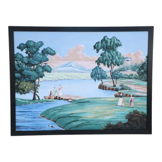 French Provincial Style Framed Oil Painting of a Genre Landscape For Sale
