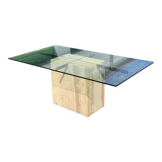 Italian Artedi Travertine and Brass Dining Table For Sale