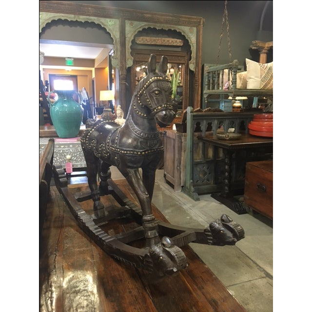 Vintage Wood and Brass Rocking Horse - Image 5 of 6