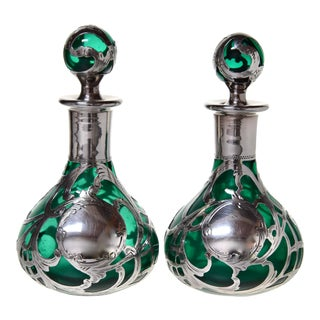 Antique Alvin Sterling Overlay Perfume Bottles - a Pair For Sale