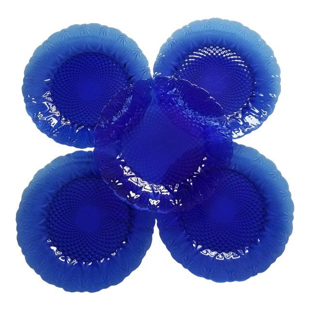 French Leaf Design Cobalt Blue Dinner Plates - Set of 5 For Sale