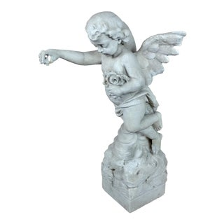 19th Century Antique Carved Stone Angel For Sale